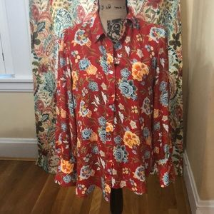 Loft polyester floral popover blouse